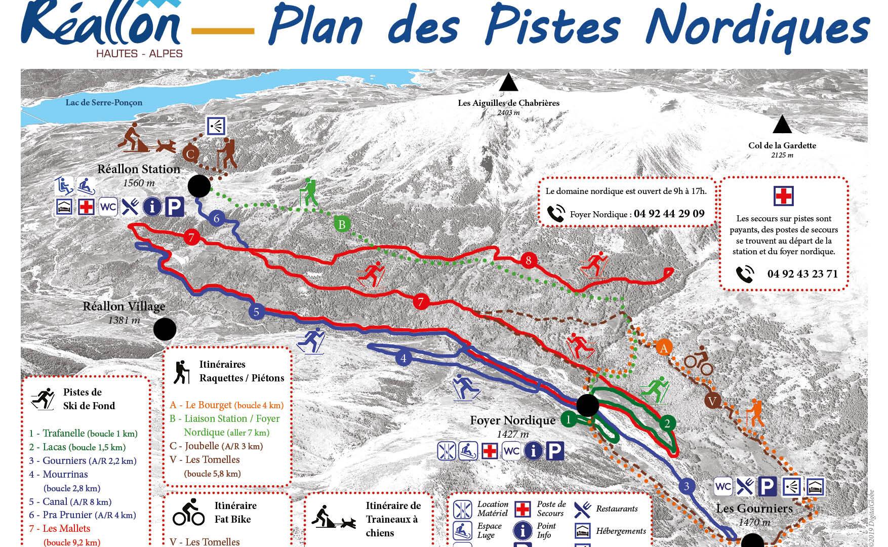 Plan des pistes nordiques 2019-2020