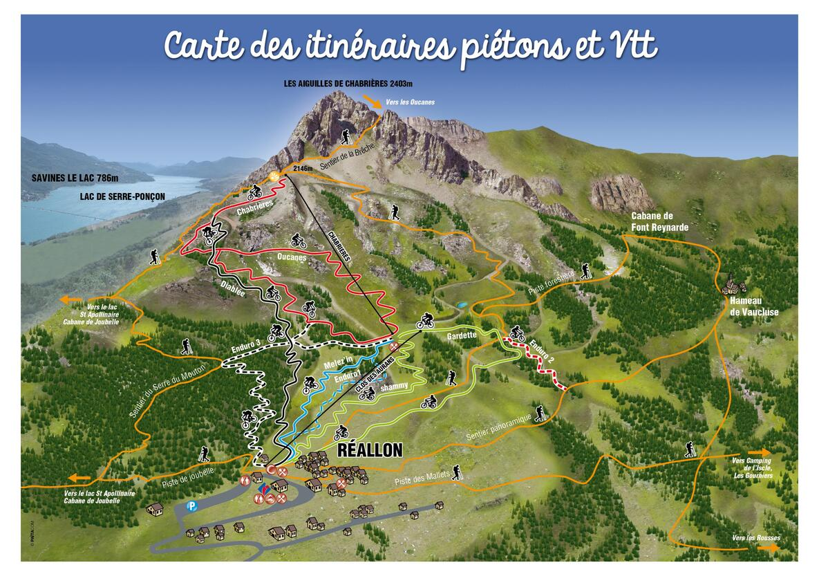 Carte des itinéraires piétons et VTT